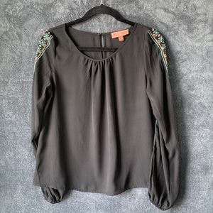 PeachPuff Embroidered Beaded Blouse Tribal Patter